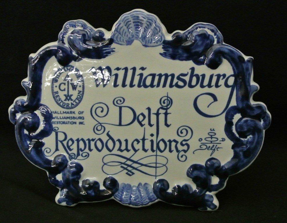 610: Delfts Williamsburg Advertising Plaque