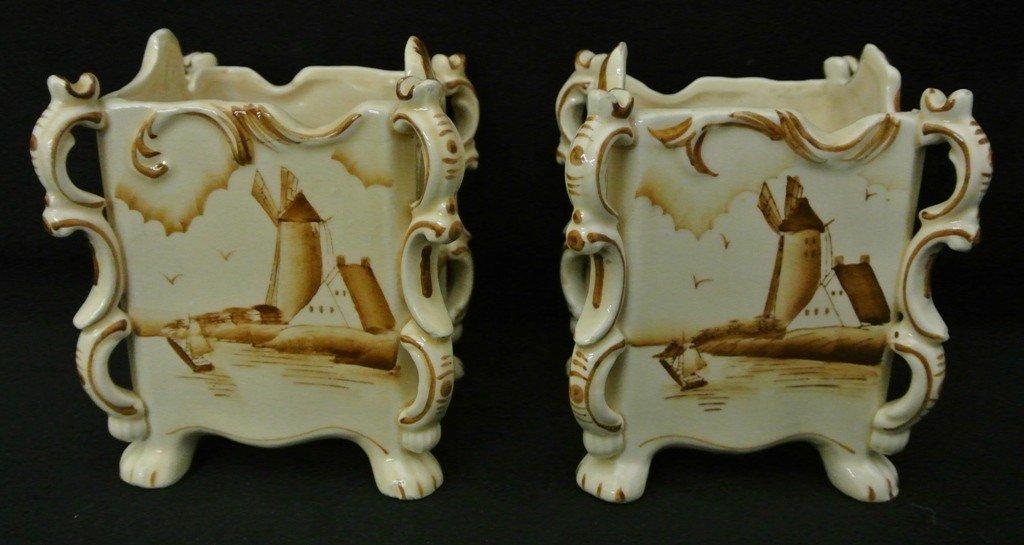 613: Pair of Brown Delft Decorative pieces