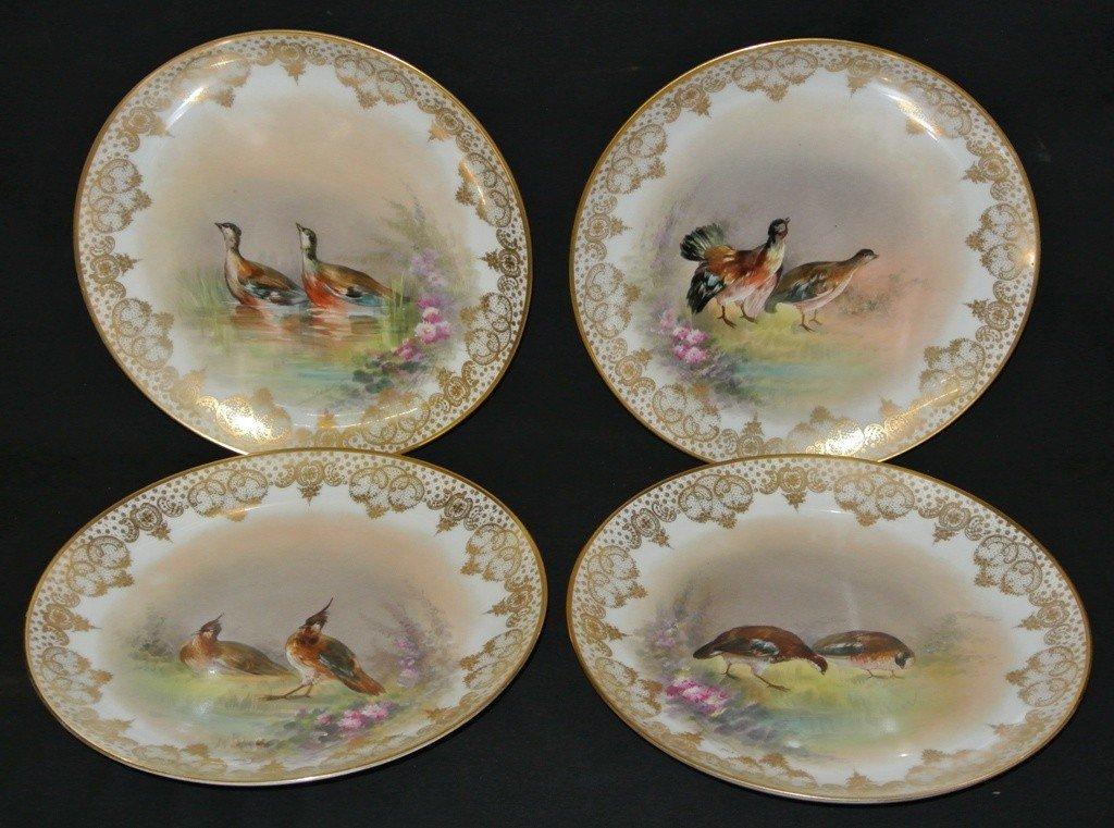 622: Four Flambeau Limoge Game Brid HP Plates