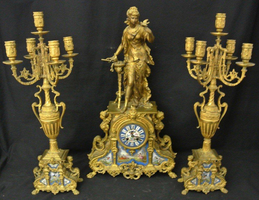 735: French Garniture Clock & Candleabra Set