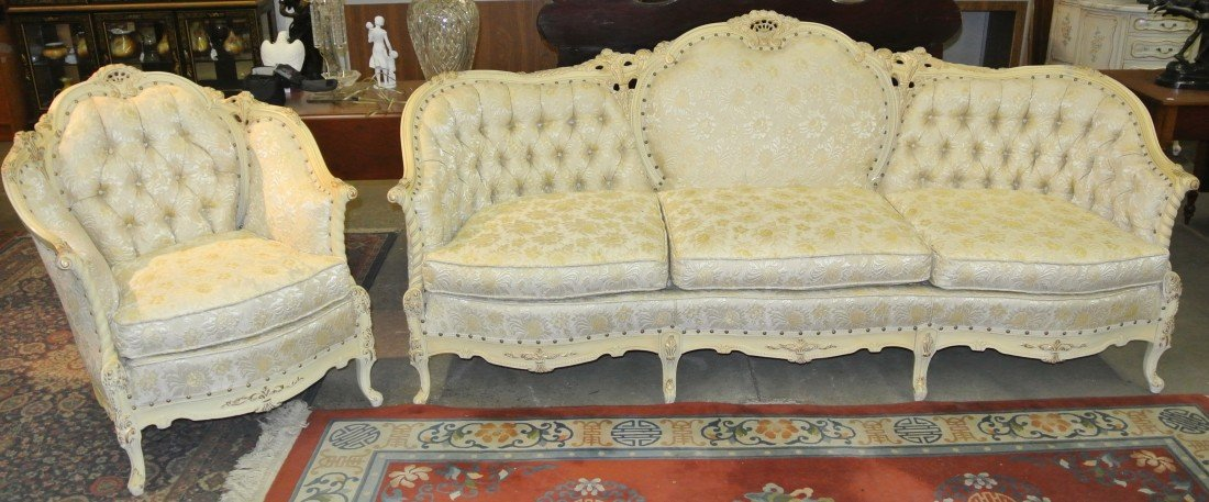 1129: Beautiful Italian Provincial Sofa and Chair