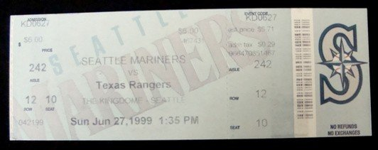 1: 1999 Ken Griffey Jr. Last Game Ticket