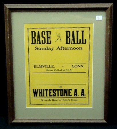5: Vintage Baseball Broadside, Framed