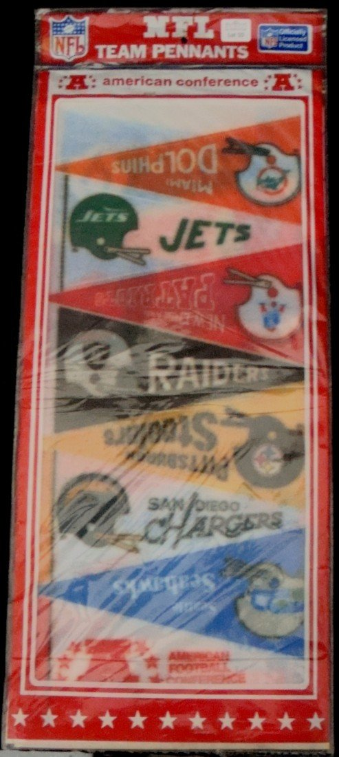 10: AFL Mini-Pennant Uncut Sheet in Orig Package, Seale