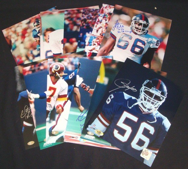 11: Lot of (14) NY Giants Signed 8x10 Photos