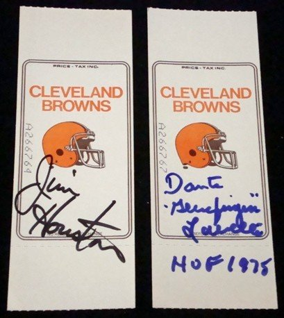 13: Jim Houston/Dante Lavelli Autographed Browns Ticket
