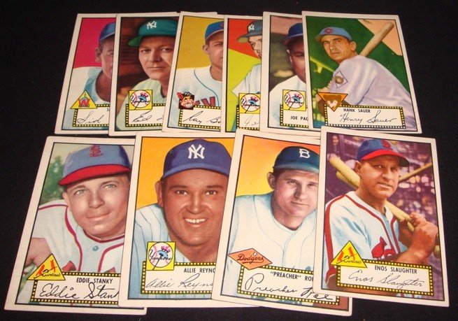82: 1952 Topps Baseball Card Lot, Reynolds, Slaughter