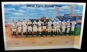 128 Detroit Tigers AllTime Team Signed Ltd Ed Lithogr