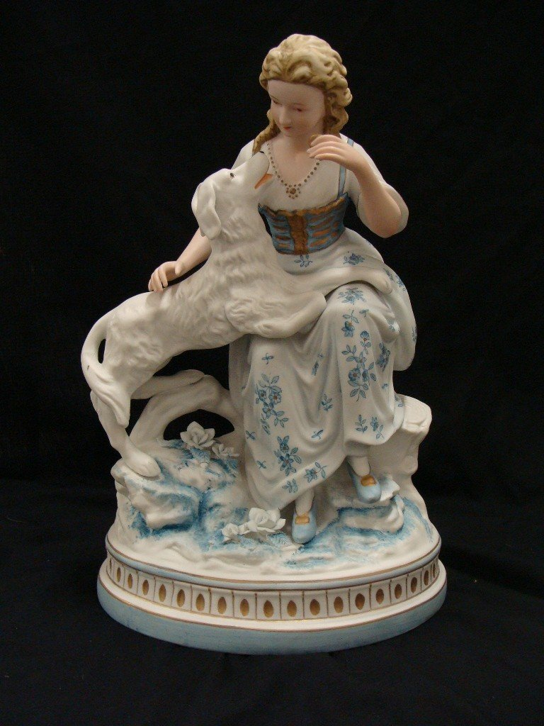 13: 7445 Victorian Porcelain Figurine Girl with Dog