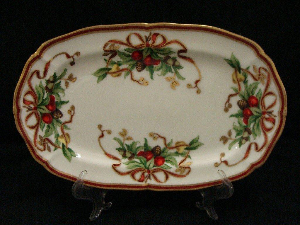 15: Tiffany Holiday Oval Christmas Serving Platter Tray