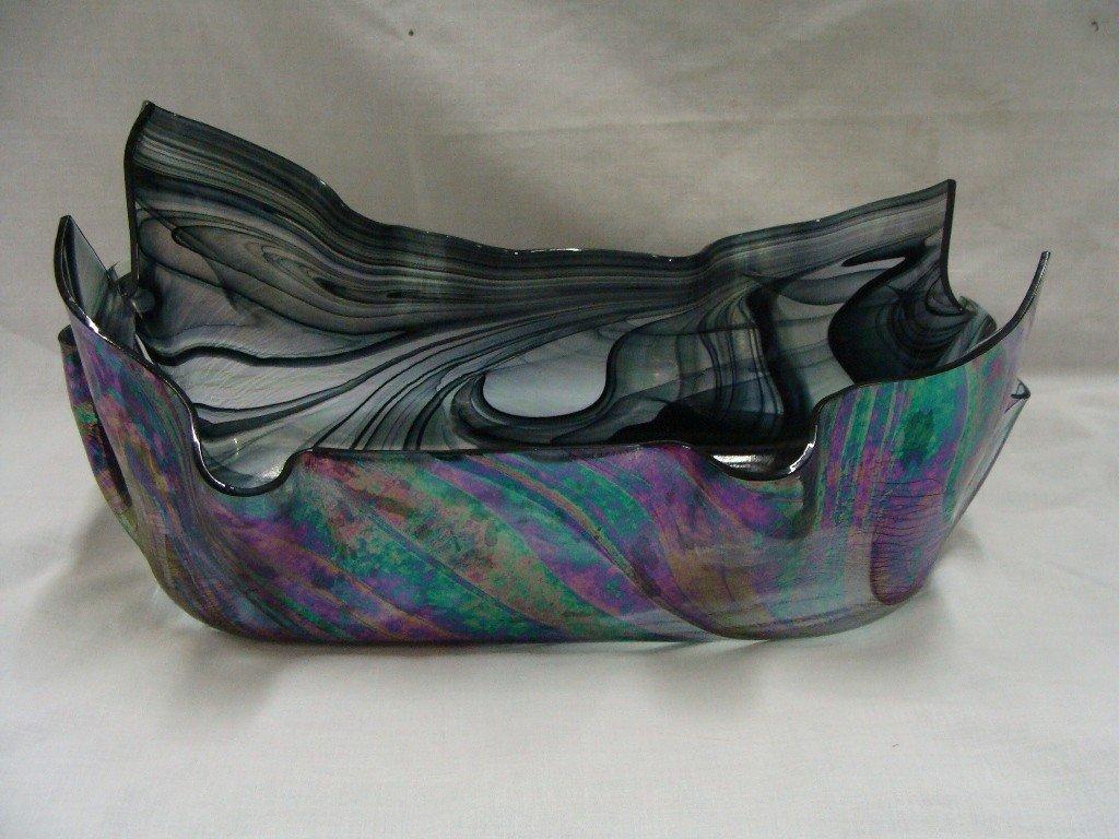 "17: Contemporary Art Glass Console 13"" x 7"","
