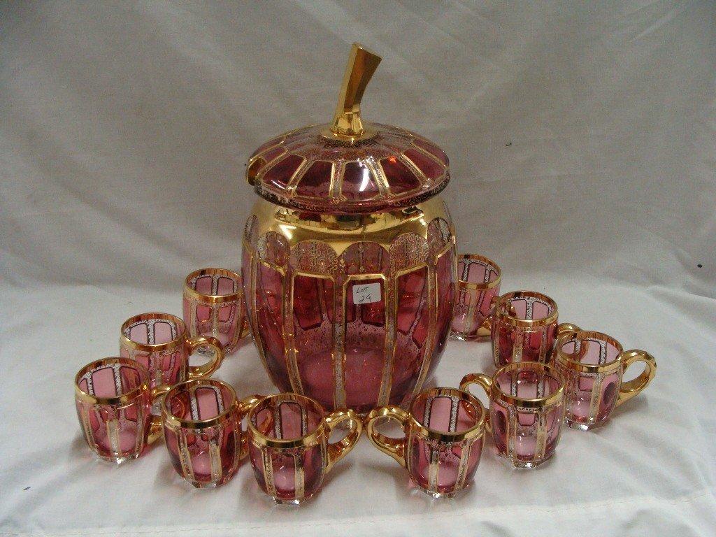 29: Lidded Ruby Red Venetian Glass Apple Top Punch Bowl