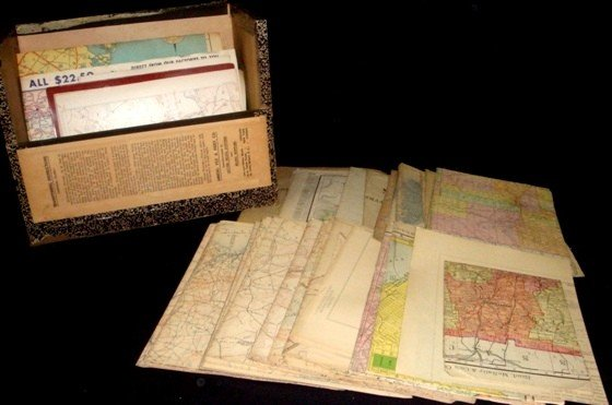 313: Lot of Early 20th C. State Road & Railway Maps
