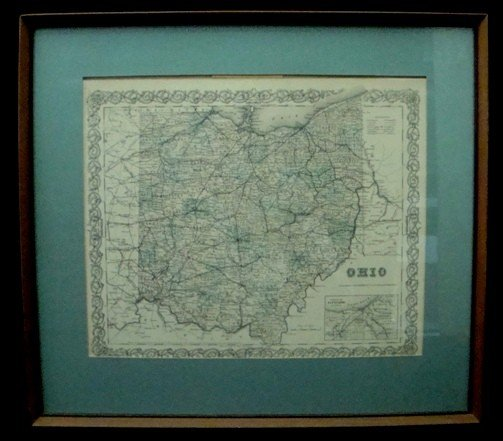 315: Framed 1855 Colton Map of Ohio