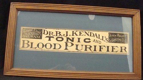 316: Vintage Dr. B.J. Kendall's Framed Ad Piece