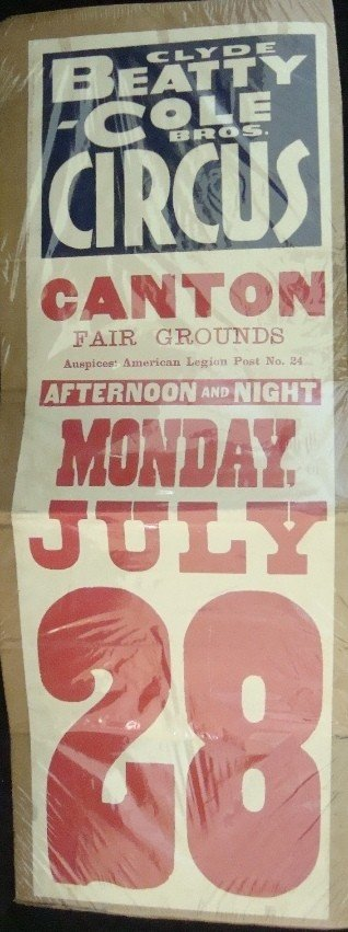 341: 1930's Clyde Beatty Cole Bros Circus Ad Broadside