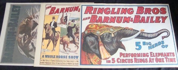 344: Lot of (3) Ringling Bros Repro Posters