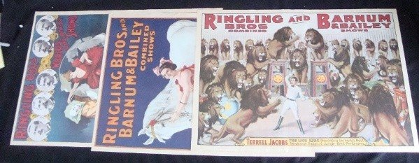 345: Lot of (3) Ringling Bros Repro Posters