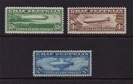 177: U.S.Scott C13-C15 Graf Zeppelin Set VF OG LH