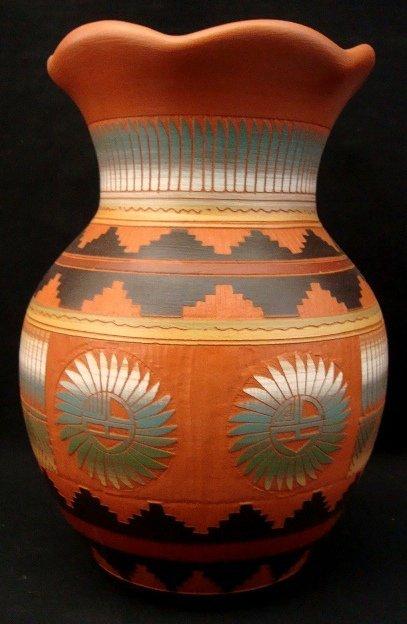 6: G. Benally Etchware Pottery Vase w Fluted Rim