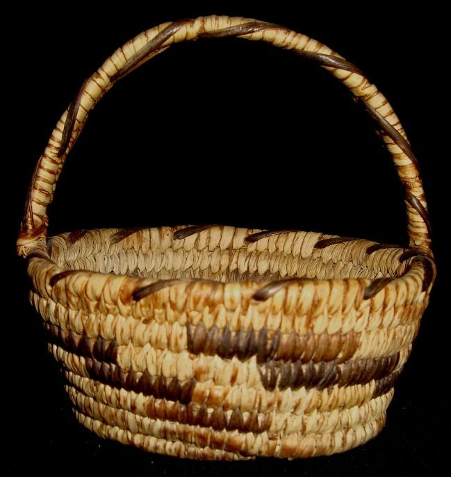 16: Papago Indian Coiled Basket with Handle