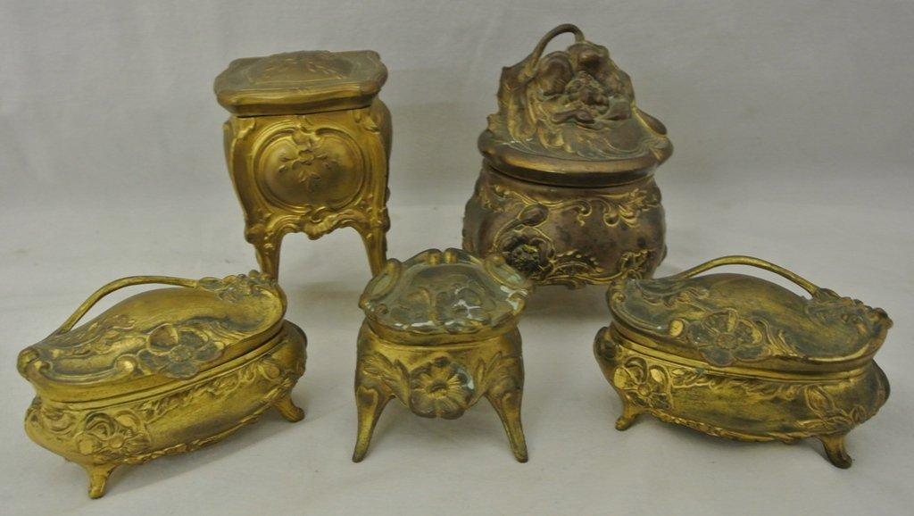 103: Five Victorian Ring Caskets