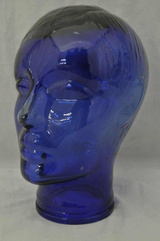 104: Cobalt Blue Glass Man's Mannequin Head Display