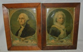 George & Martha Washinton 19th C. Framed Prints