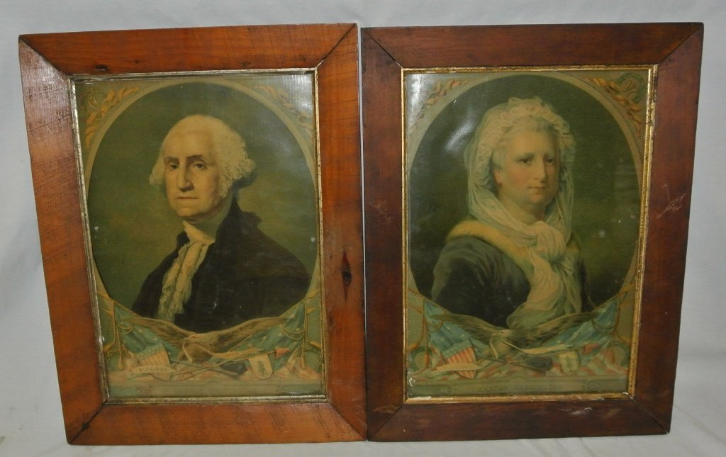 108: George & Martha Washinton 19th c. Framed Prints