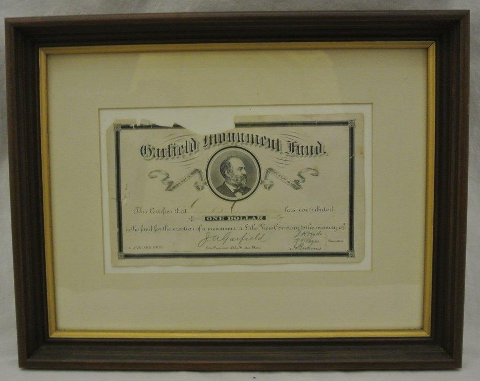 109: James A. Garfield Monument Fund Receipt
