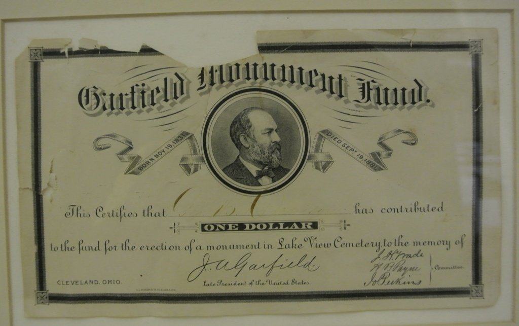 109: James A. Garfield Monument Fund Receipt - 2