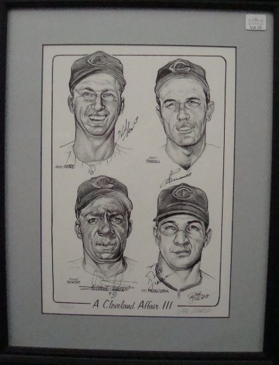 19: Dick Dugan Signed Indians Autographed 14x18 Print