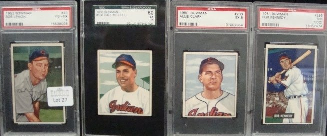 27: 1950-52 Bowman Cleve Indians Graded Cards.  1952 Bo