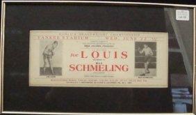 1938 Louis Vs Schmeling Original Ad Piece