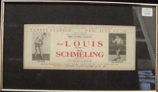 30: 1938 Louis vs Schmeling Original Ad Piece