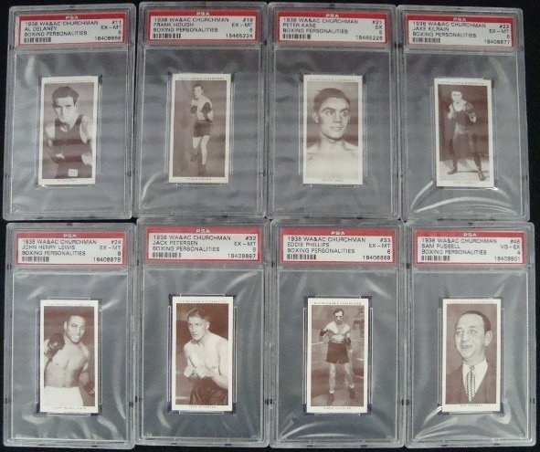 34: 1938 Churchman Boxing Graded Cards (8)