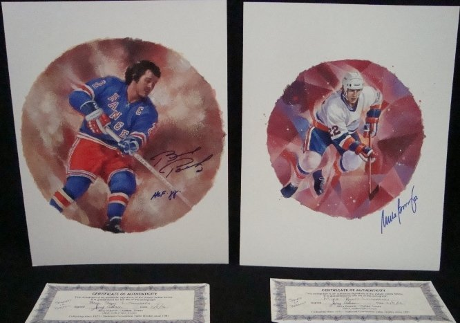 38: Mike Bossy Brad Park Signed C. Vinh Lithographs