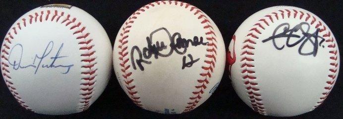 46: (3) Indians Single Signed Balls, Martinez, Sabathia