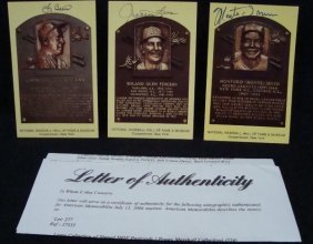(3) Signed Cooperstown HOF Postcards, Berra