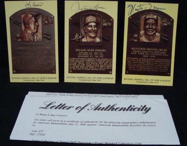 60: (3) Signed Cooperstown HOF Postcards, Berra