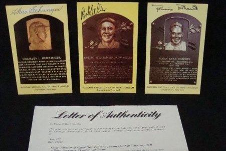 62: (3) Signed Cooperstown HOF Postcards, Feller