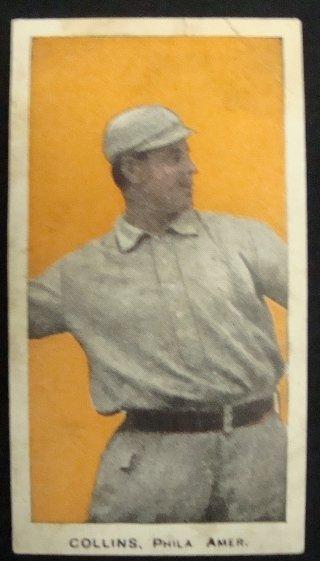 64: 1910 E98 Eddie Collins, Orange Background