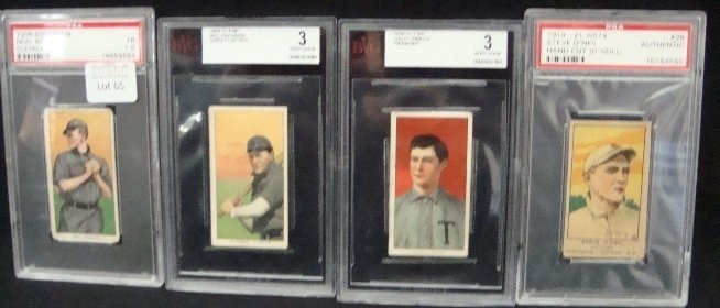65: (4) Vintage pre-40 Graded Cards. T206 Ball Sovereig