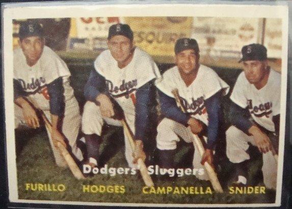 71: 1957 Topps #400 Dodgers Sluggers