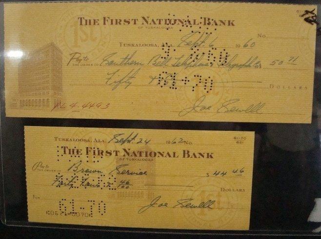 87: Pair of 1960's Joe Sewell Signed Bank Checks
