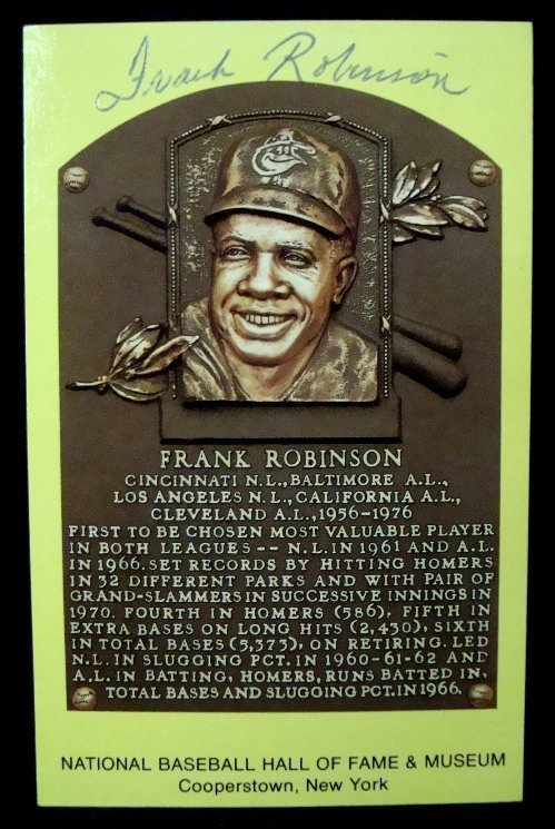 58A: Frank Robinson Signed Cooperstown Postcard