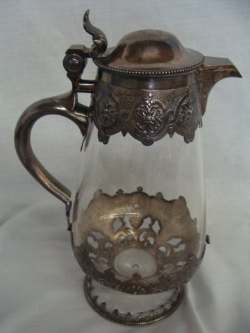2: J & GB Easley Sheffield Sterling Wrapped Glass Decan