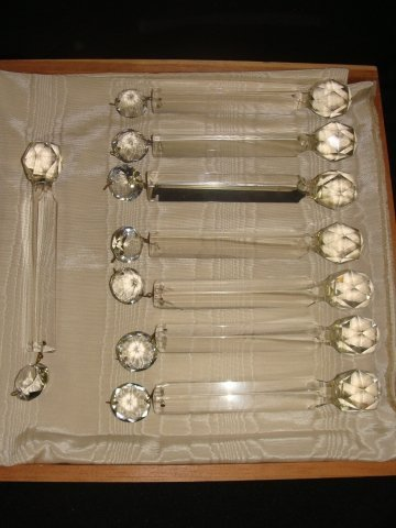 "15: Lot of eight 8 1/4"" long Cut Glass Lamp Chandelier"