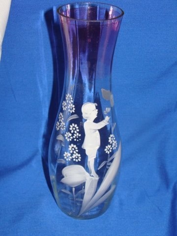 20: French Cameo Glass Mary Gregory Style Flashed Vase