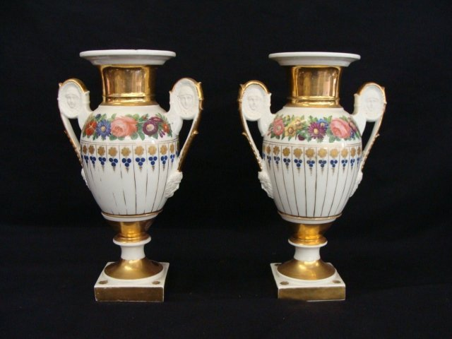 23: Pair of Hand Painted Porcelain Vases Urns w Male &